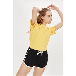 Topshop Solid Sporty Runner Shorts Black White